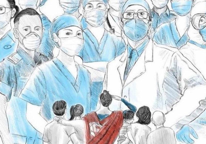 Desenho de Josef Lee, Singapura em https://www.tv7dias.pt/homenagem-aos-profissionais-de-saude, a 8-5-2020